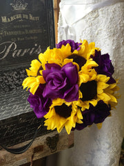 Sunflower Bouquet, Sunflower Purple Rose Bridal Bouquet, Sunflower Wedding, Yellow Purple Bouquet, Sunflower Purple Bouquet, Rustic Bouquet