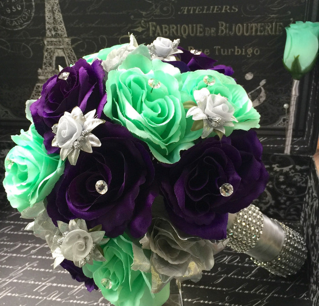 Wedding Bouquet 17 Piece Silver Purple Mint Rose Bridal Bouquet
