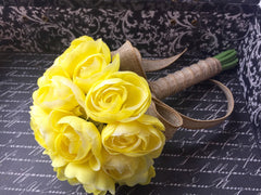 Yellow Ranunculus Wedding Bouquet, Yellow Bridal bouquet, Yellow Bouquet - Silk Flowers By Jean