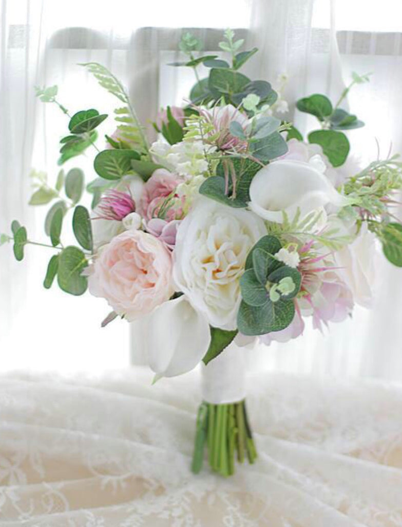 Rustic Chic Wedding Flower Bouquet Pink Rose With Eucalyptus