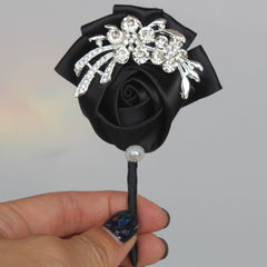 WifeLai-A Black Satin Diamond Wedding Corsages Boutonniere Groom wedding Flowers Boutonniere Brooch Flower Pin X1104 - Silk Flowers By Jean