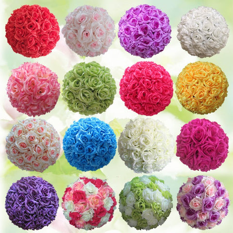 26 Colors 10inch Silk Rose Wedding Kissing Balls Hanging Decorative Flower Ball Centerpieces Pomanders Mint Wedding Decoration Ball