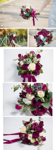 Romantic Burgundy Rose Berry Handmade Artificial Flower Bouquet Wedding Bridesmaid Bouquet