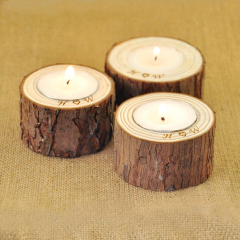 Personalized Wood Candle Holders Home Decoration Rustic Wedding Centerpiece Holder
