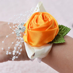 Wedding Wrist Corsages, Prom Corsage, Flower Pearl Bracelet Prom Wrist corsage, Wedding Gift - Silk Flowers By Jean