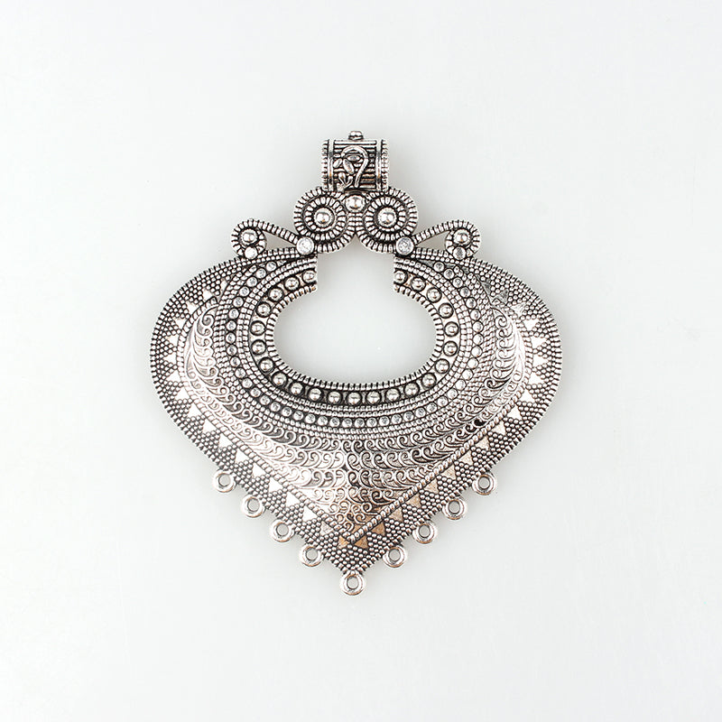 1pcs/lot 83*73MM Retro Zinc Alloy Heart Shaped Pendants Connectors For DIY Silver Christmas Charm Accessories