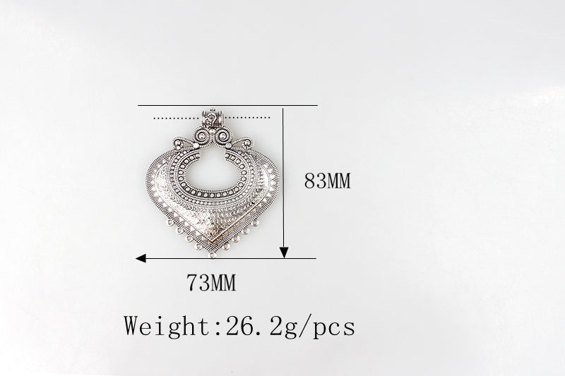 1pcs/lot 83*73MM Retro Zinc Alloy Heart Shaped Pendants Connectors For DIY Silver Christmas Charm Accessories - Silk Flowers By Jean