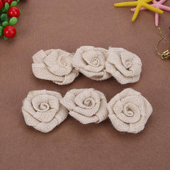 6Pcs/Set 7cm Burlap Rose Flower Handmade Jute Rose Vintage Rustic Wedding Decoration DIY Party Supplies