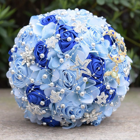 7 Colors Beach Wedding Bouquet Artificial Silk Rose with Rhinestone Brooches