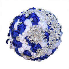Stunning Brooch Wedding Bouquet Satin Roses Lace Handle - Silk Flowers By Jean