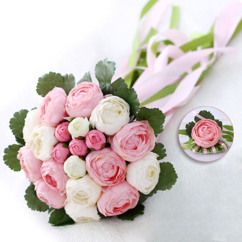 Romantic Wedding Bouquet With Ribbon Artificial Peony Pink Green Women Bridal Accessories Bridals Flowers