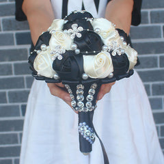 Black Ivory Silk Artificial Flower Bridal Bouquets Crystal Pearls Bridesmaid Wedding Bouquets - Silk Flowers By Jean
