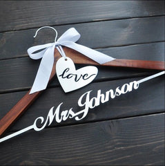 Personalized Wedding Hanger Bride Bridesmaid Groom Name Hanger With Bow