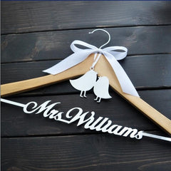 Personalized Wedding Hanger Bride Bridesmaid Groom Name Hanger With Bow - Silk Flowers By Jean