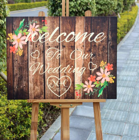 Personalized Rustic Wood Wedding Sign With Flowers, Custom Rustic Wedding Decoration