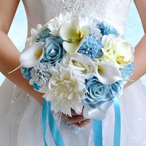 Real Touch Blue White Wedding Bouquet Flowers