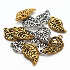 30pieces/lot antiquegold/Antiquesilver Wholesale Vintage Handmade Leaf Charms Pendants Gifts for Women F2849