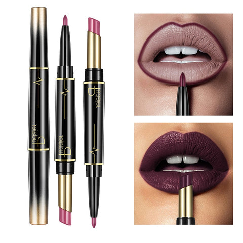 Matte Lipstick Wateproof Double Ended Long Lasting Lipsticks Brand Lip Makeup Cosmetics Nude Dark Red Lips Liner Pencil, gift