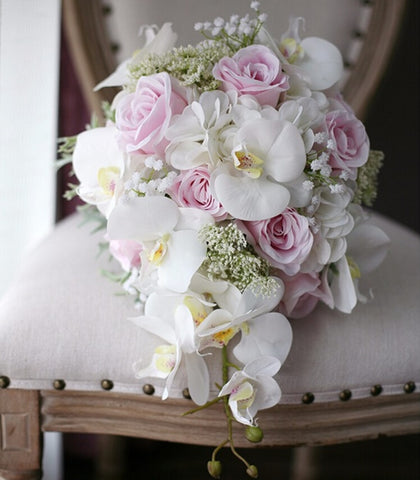 New Vintage Artificial Flowers Cascade Wedding Bouquet Ivory Pink Cascading Bridal Bouquets
