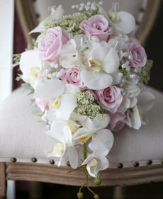New Vintage Artificial Flowers Cascade Wedding Bouquet Ivory Pink Cascading Bridal Bouquets - Silk Flowers By Jean