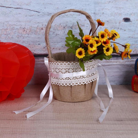 Rustic Wedding Flower Girl Basket with Lace Satin Vintage Flower Basket Burlap Jute Flower Party Wedding Decoration