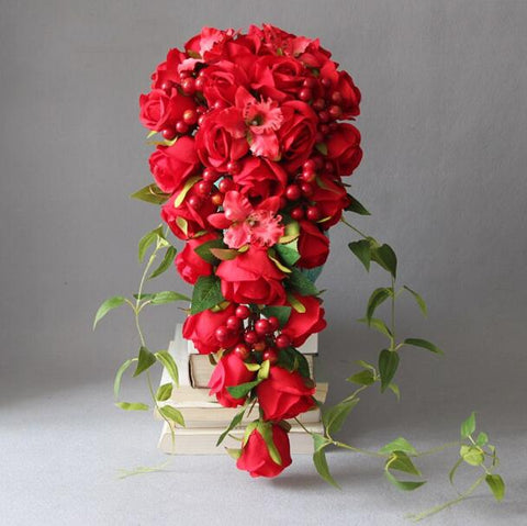 Silk Red Cascading Bridal Bouquets for Wedding Handmade Rose Flowers Bridal Bouquets Cascading Bouquet