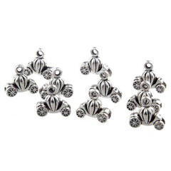 30 PCS VINTAGE SILVER CINDERELLA PUMPKIN FAIRYTALE COACH CHARMS FOR DIY - Silk Flowers By Jean