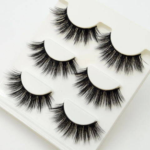 3 pairs Lashes False Eyelashes Crisscross Thick Natural Fake Eye Lashes Professional Makeup Long False Eye Lashes Gift