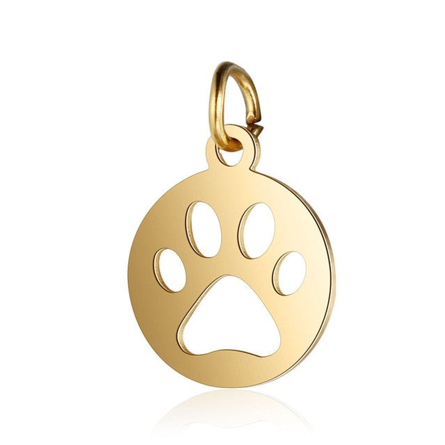 2 Pcs Stainless Steel Dog Paw Charm Animal Charms For DIY Jewelry Making - Silk Flowers By Jean