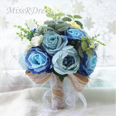 MissRDress Rustic Style Wedding Bouquet Artificial Silk Bridal Bouquet Bridal Ivory Wedding Flower For Wedding Decoration JK205 - Silk Flowers By Jean
