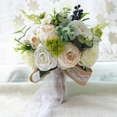 4 Colors Rustic Romantic Style Wedding Bouquet Artificial Silk Bridal Bouquet - Silk Flowers By Jean