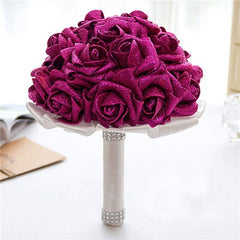 6 Colors Handmade Artificial Rose Wedding Bouquet - Silk Flowers By Jean