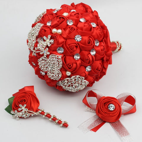 Handmade High Quality Red Wedding Bouquet with matching Boutonniere & Bridal Wrist Flower
