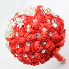 Handmade High Quality Red Wedding Bouquet with matching Boutonniere & Bridal Wrist Flower - Silk Flowers By Jean