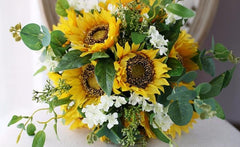 Sunflower wedding flower bouquet, sunflower bouquet - Silk Flowers By Jean