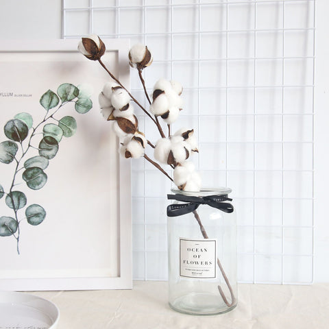 Naturally Dried Cotton Flower Artificial Branch, Cotton Home Decor