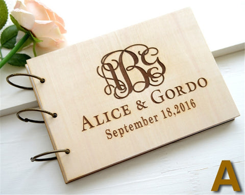 Wooden Wedding Guest Book engraved name and date personalized wedding guest book, Rustic wedding gifts