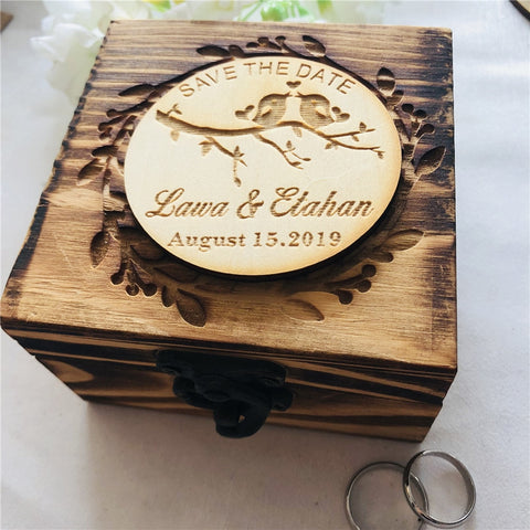 Personalized Rustic Wedding Wood Ring Box, Custom Ring Bearer Box