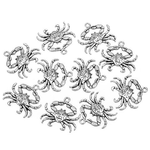 20pcs/lot Antique Silver Beach Crab Charms Animal Floating Charms For Diy Jewelry Making