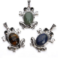 1pc/lot Natural Stones Frog Pendants Charms for Necklace DIY Jewelry Making - Silk Flowers By Jean