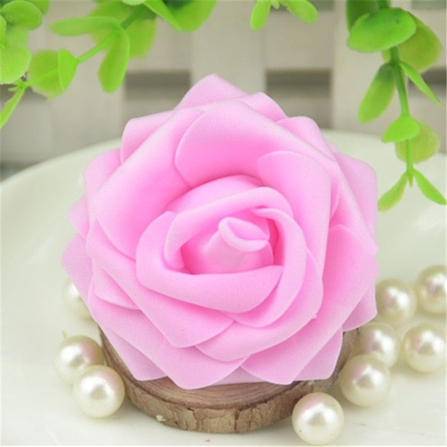 50pcs Artificial Foam Roses Flowers For Home Wedding Decoration Scrapbooking PE Flower Heads DIY Kissing Balls Multi Color - Silk Flowers By Jean