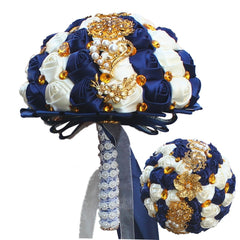 Satin Rose Navy Blue Gold Vintage Brooch Wedding Bouquet - Silk Flowers By Jean