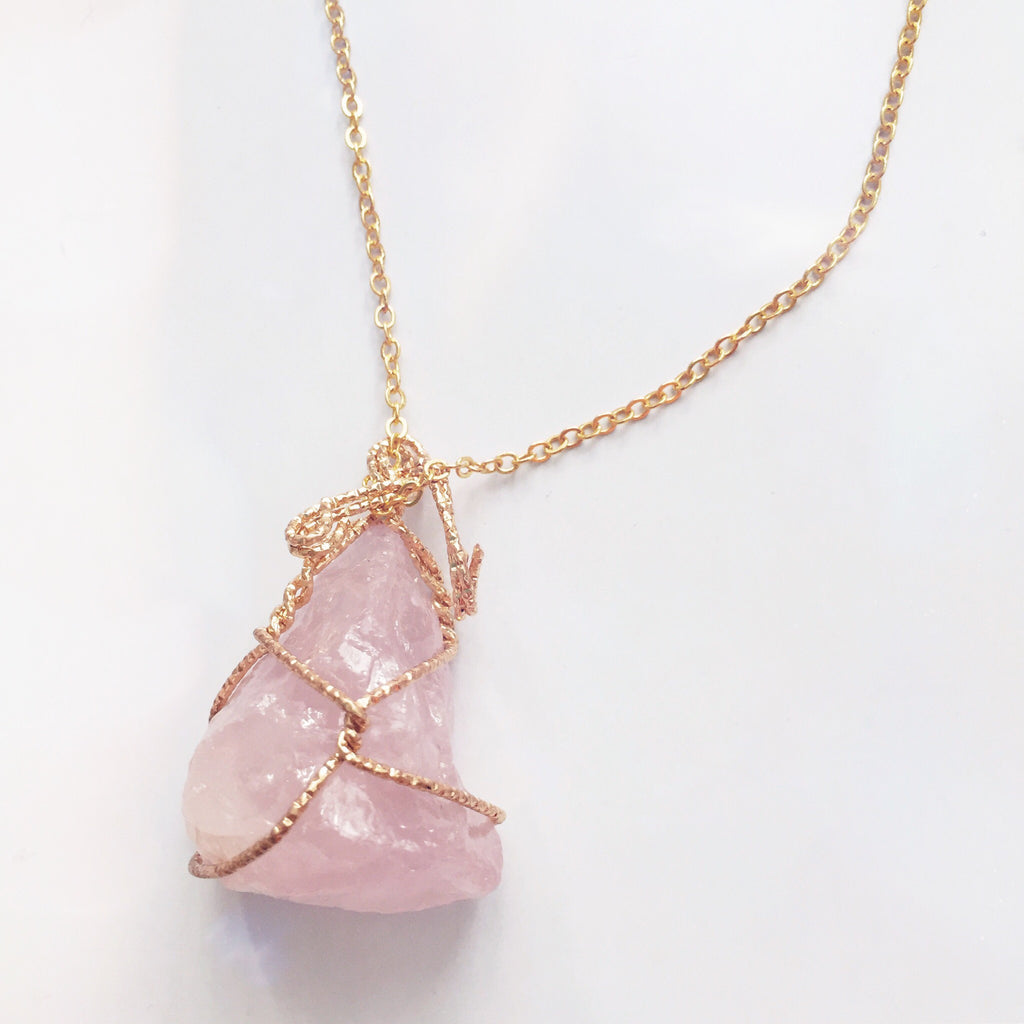Rose Quartz Rock Necklace