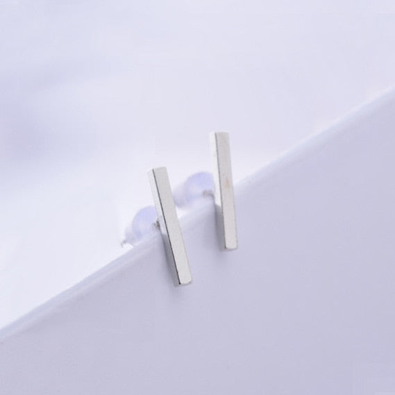 Staple silver stud earrings
