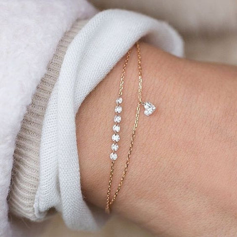 Double Layer Heart Crystal Bracelet