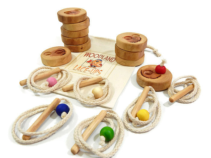WOODEN LACING BUTTONS - 10 button set