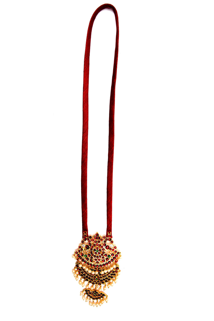 Maroon Color Peacock With Shoba Contemporary Temple Necklace