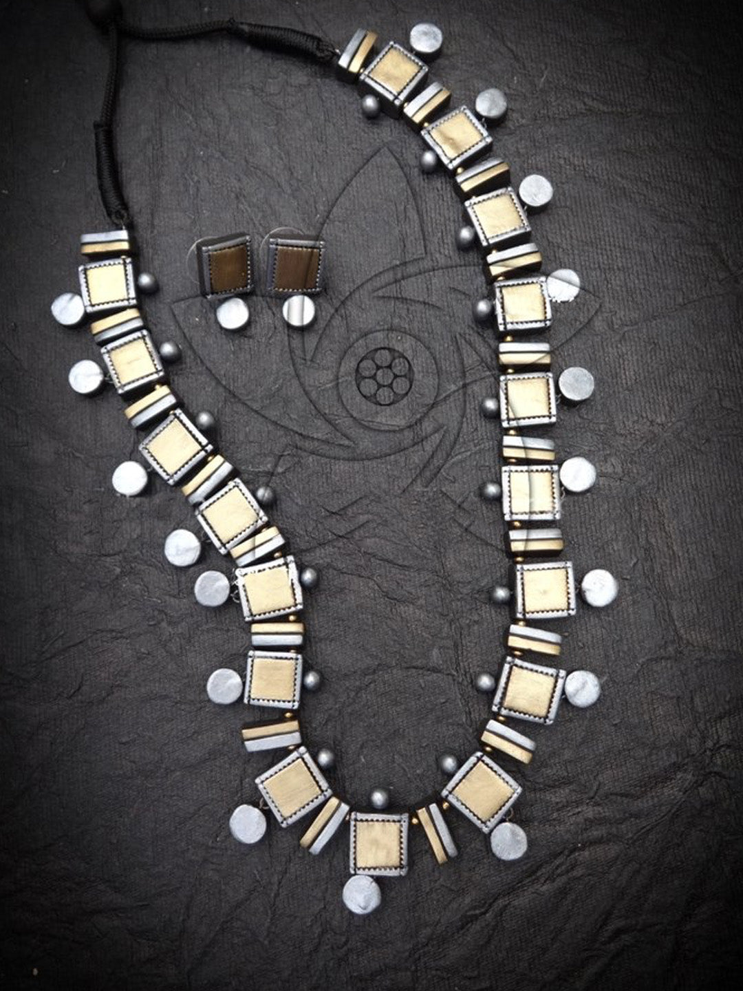 Designer Handmade Square Design Antique Gold Color With Silver Color Coins Medium Necklace Set By Nakshatra Terracotta