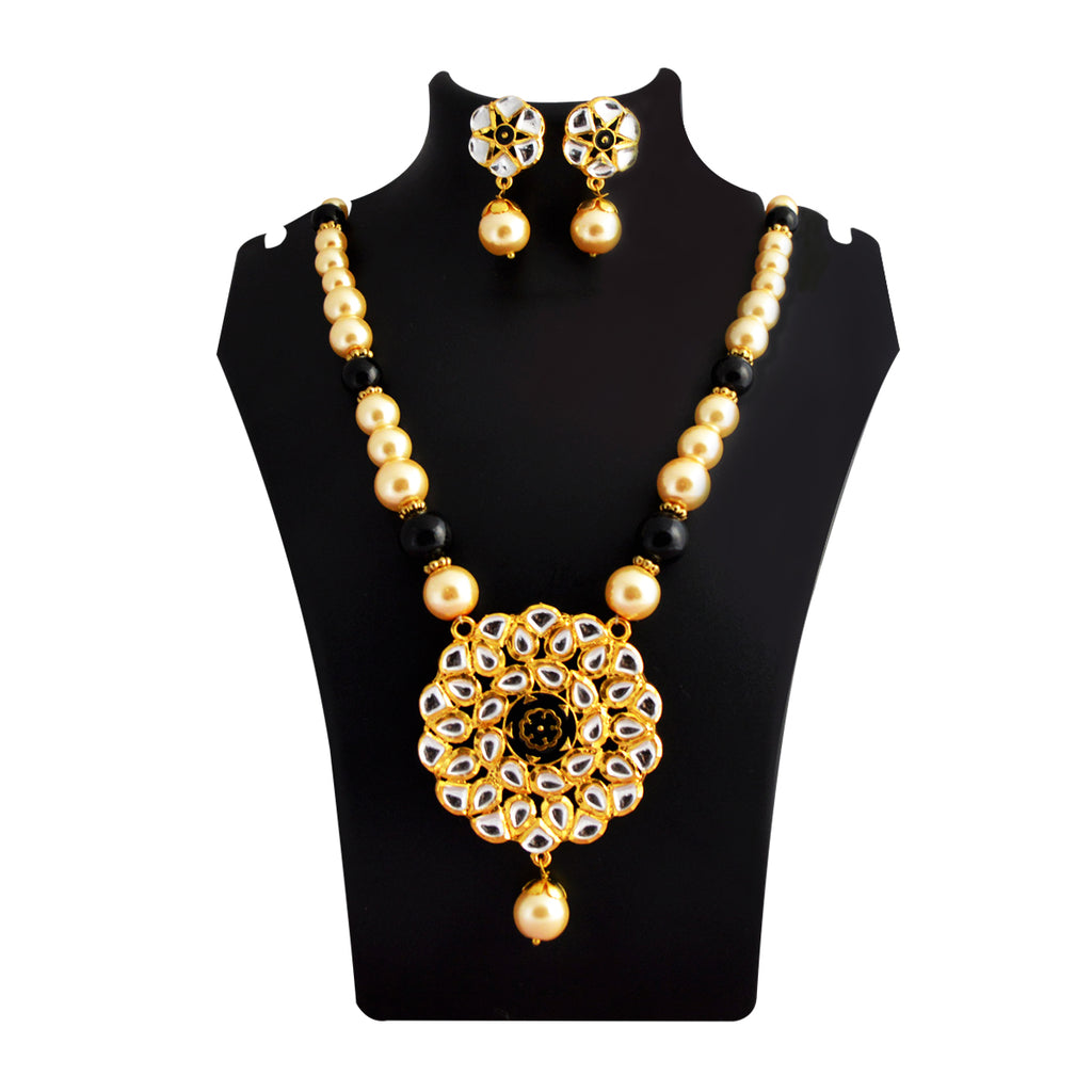 MK Jewellers Multicolor Traditional Geometric Design With Kundan Stone And Pearls Meenakari Necklace Set-MK JEWELLERS-Necklace Set