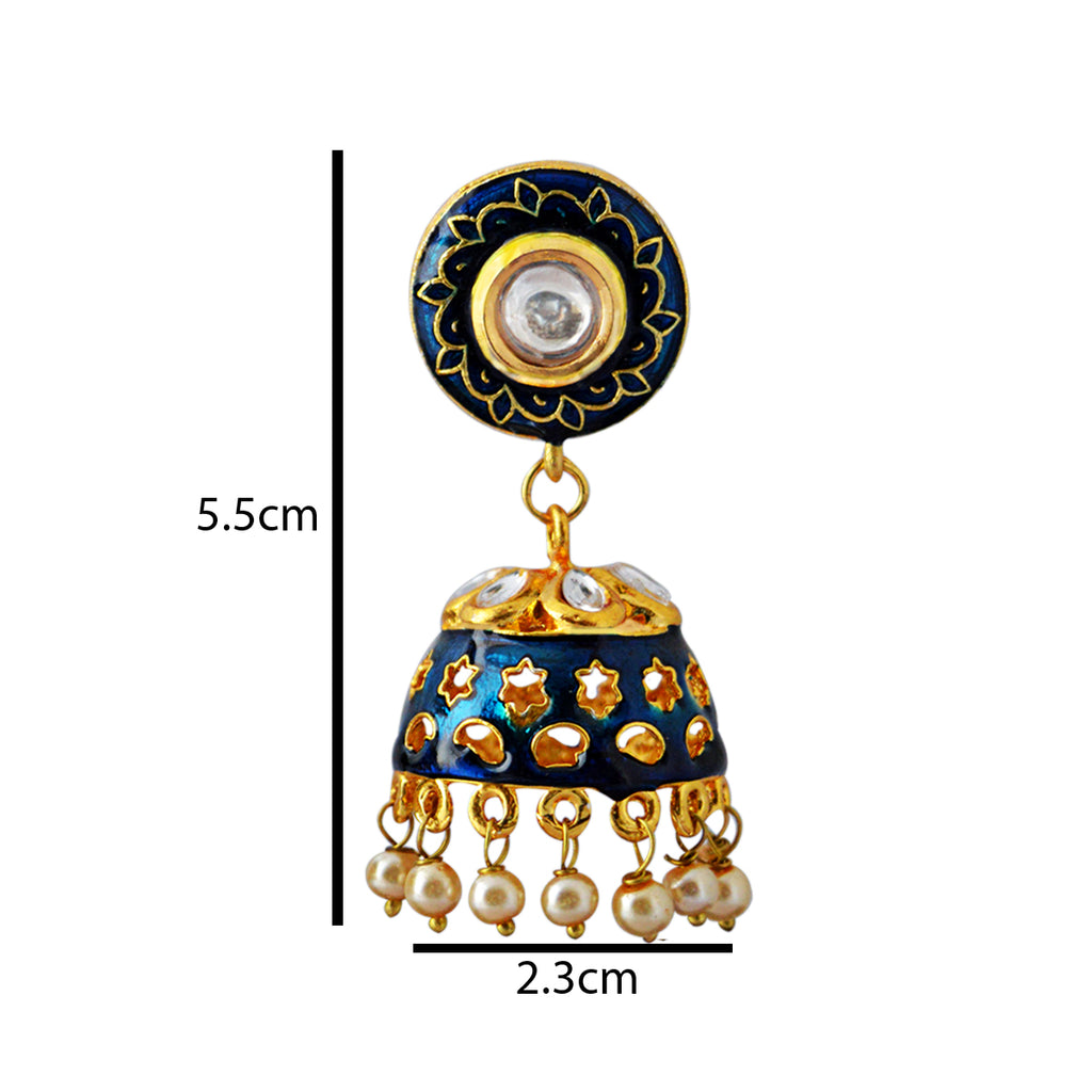 Cyan Color Star Design Pattern With Kundan Stone Meenakari Jhumka Earring-MK JEWELLERS1-Earring